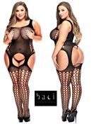 Baci Lingerie [ UK 16 - 22 ] Queen Size Black Garter Style Open Bodystocking ...